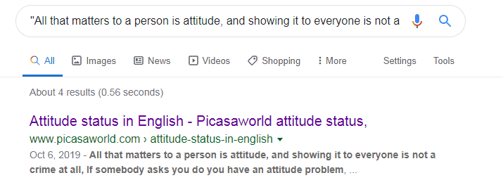 Google Result from Plagiarism Checker