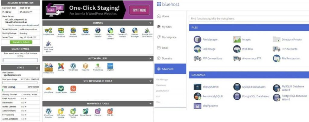 Cpanel - SiteGround vs Bluehost
