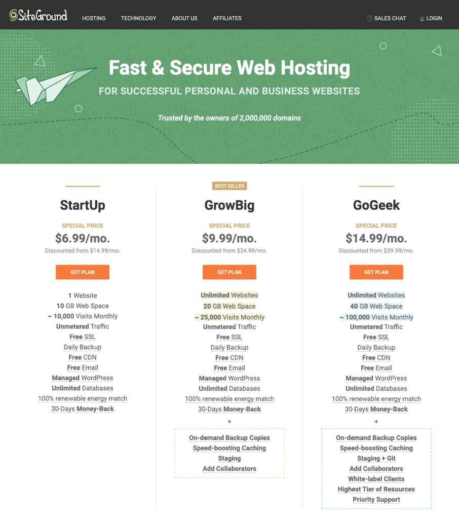 SiteGround Web Hosting Plans - SiteGround vs Bluehost