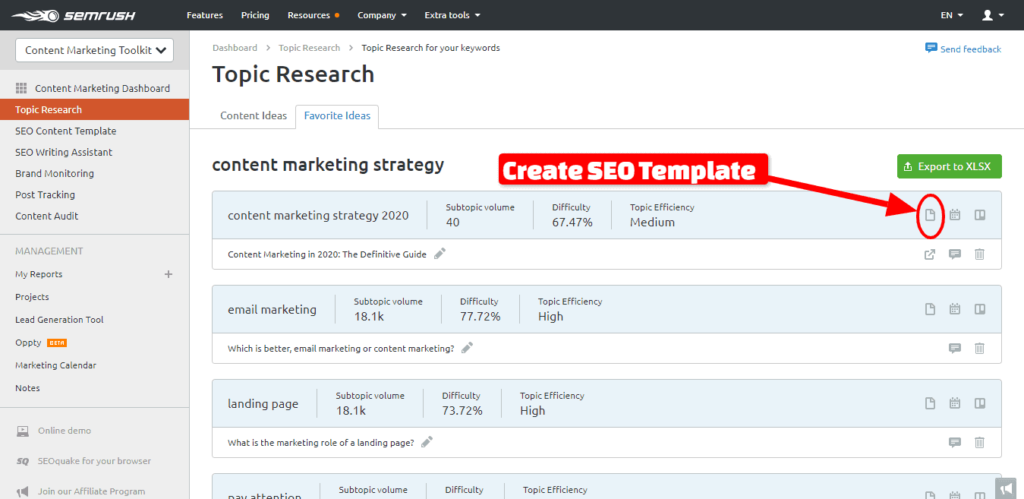 create seo template - SEMrush COntente Marketing Toolkit